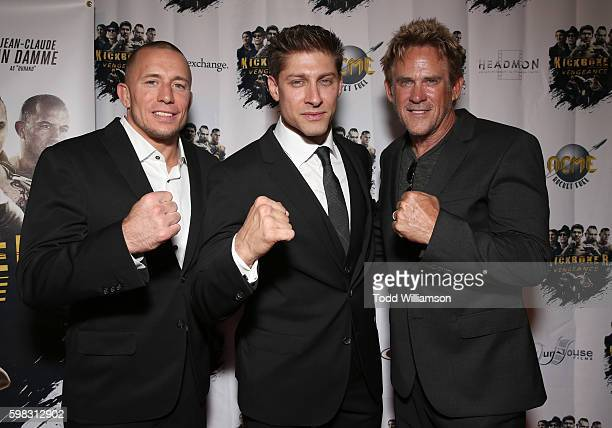 Georges StPierre Alain Moussi and Michael Dudikoff attend the premiere Of RLJ Entertainment's 'Kickboxer Vengeance' at iPic Theaters on August 31...