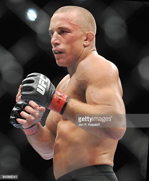 Georges StPierre engages BJ Penn at UFC 94 Georges StPierre vs BJ Penn 2 at the MGM Grand Arena on January 31 2009 in Las Vegas Nevada