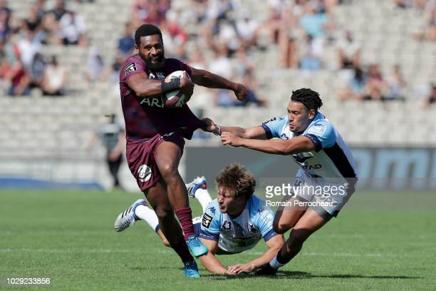 Georges Tilsley of Bordeaux in action during the French Top 14 match between Union Bordeaux Begles and Montpellier Herault Rugby at Stade...