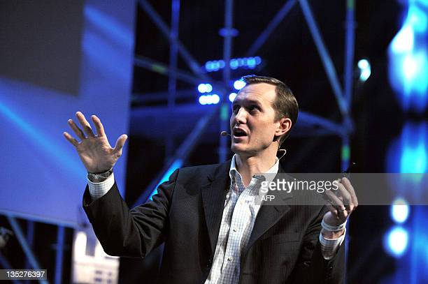 Georges Whitesides CEO of Virgin Galactic, presents space-tourism airline Virgin Galactic, during a plenary session of LeWeb 11 event in Saint-Denis,...