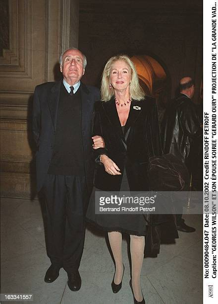 Georges Wilson and his wife 'Gerard Oury' film screening of 'La Grande Vadrouille' at the Garnier opera