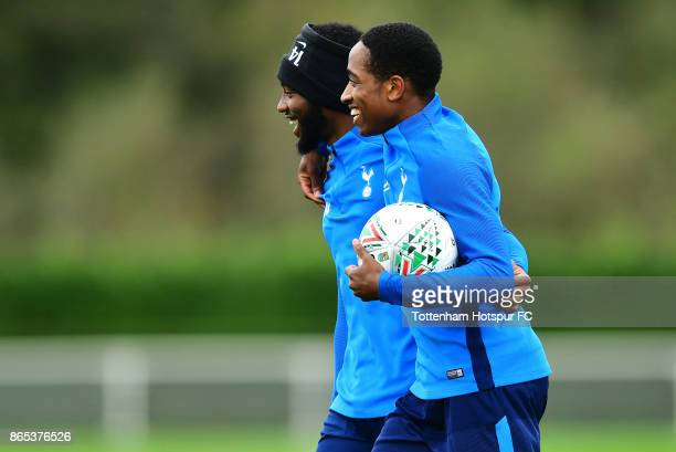 GeorgesKevin Nkoudou and Cameron CarterVickers during the Tottenham Hotspur training session at Tottenham Hotspur Training Centre on October 23 2017...