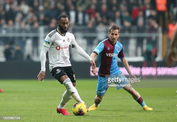 Georges-Kevin N'Koudou of Besiktas in action against Joao Pereira of Trabzonspor during the Turkish super Lig soccer match between Besiktas and...