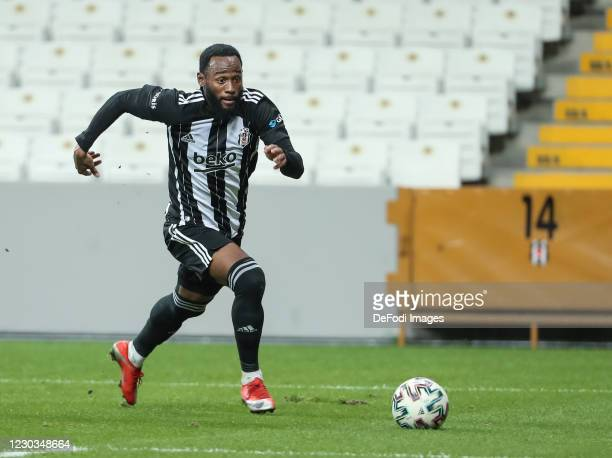 Georges-Kevin N'Koudou of Besiktas Istanbul controls the ball during the Sueper Lig match between Besiktas Istanbul and Sivasspor at Vodafone Park on...