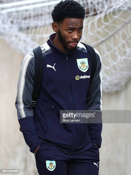 GeorgesKevin N'Koudou of Burnley arrives at the stadium prior to prior to the Premier League match between Crystal Palace and Burnley at Selhurst...