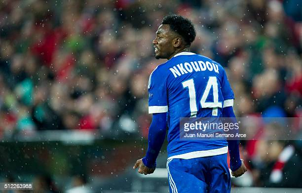 GeorgesKevin N'Koudou of Marseille reacts during the UEFA Europa League Round of 32 Second Leg match between Athletic Club and Marseille at San Mames...