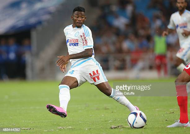 GeorgesKevin N'Koudou of OM in action during the French Ligue 1 match between Olympique de Marseille and SM Caen at Stade Velodrome on August 8 2015...
