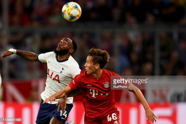 Georges-Kevin N'Koudou of Tottenham and Jonas Kehl of Bayern Munich competes for the ball during the Audi cup 2019 final match between Tottenham...