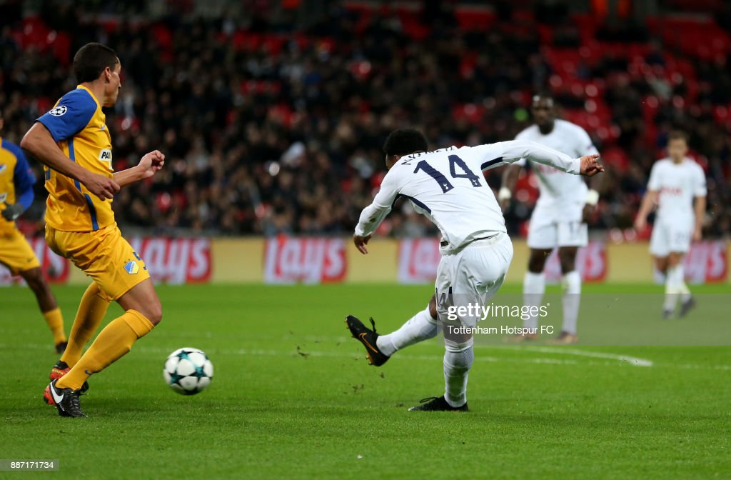 Georges-Kevin Nkoudou of Tottenham Hotspur scores the 3rd Tottenham goal during the UEFA Champions League group H match between Tottenham Hotspur and APOEL Nicosia at Wembley Stadium on December 6, 2017 in London, United Kingdom.