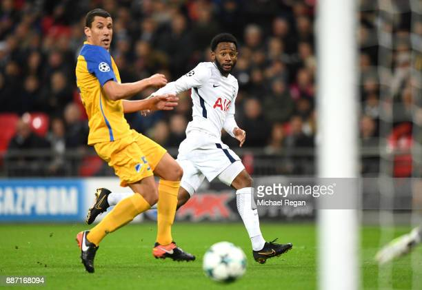 GeorgesKevin Nkoudou of Tottenham Hotspur shoots during the UEFA Champions League group H match between Tottenham Hotspur and APOEL Nicosia at...