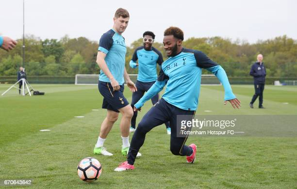 Georges-Kévin N'Koudou and Ben Davies of Tottenham during a Tottenham Hotspur training session at Tottenham Hotspur Training Centre on April 20, 2017...