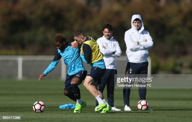 Georges-Kévin N'Koudou and Kieran Trippier during the Tottenham Hotspur training session at Tottenham Hotspur Training Centre on March 9, 2017 in...