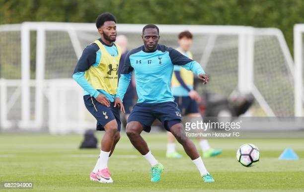 GeorgesKévin N'Koudou and Moussa Sissoko of Tottenham during the Tottenham Hotspur training session at Tottenham Hotspur Training Centre on May 12...