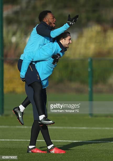 GeorgesKévin N'Koudou and Pau Lopez of Tottenham during the Tottenham Hotspur training session at Tottenham Hotspur Training Centre on December 1...