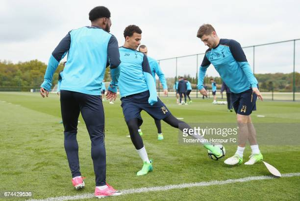 Georges-Kévin N'Koudou, Dele Alli and Ben Davies of Tottenham during the Tottenham Hotspur training session at Tottenham Hotspur Training Centre on...