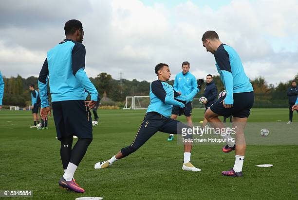 Georges-Kévin N'Koudou, Dele Alli and Vincent Janssen of Tottenham during the Tottenham Hotspur training session at Tottenham Hotspur Training Centre...