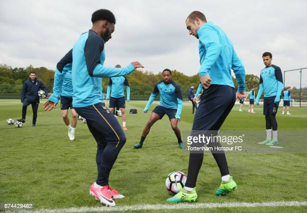 Georges-Kévin N'Koudou, Kyle Walker-Peters and Pau Lopez of Tottenham during the Tottenham Hotspur training session at Tottenham Hotspur Training...
