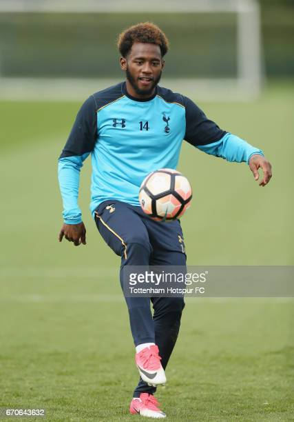 Georges-Kévin N'Koudou of Tottenham during a Tottenham Hotspur training session at Tottenham Hotspur Training Centre on April 20, 2017 in Enfield,...