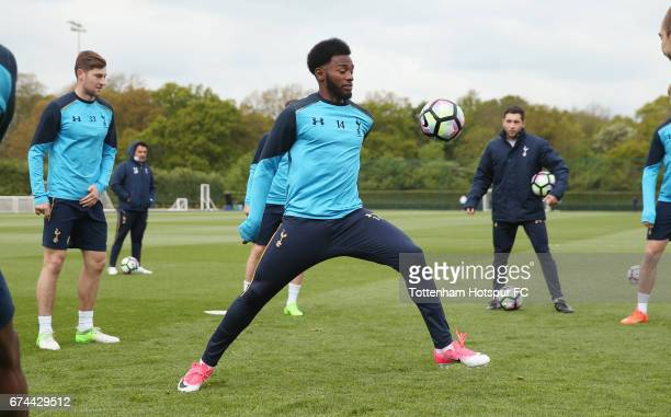 Georges-Kévin N'Koudou of Tottenham during the Tottenham Hotspur training session at Tottenham Hotspur Training Centre on April 28, 2017 in Enfield,...