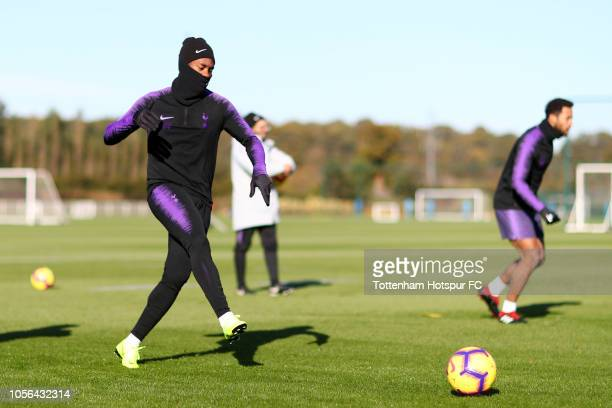 Georges-Kévin N'Koudou of Tottenham Hotspur in action during a Tottenham Hotspur Training Session at the Tottenham Hotspur Training Centre on...