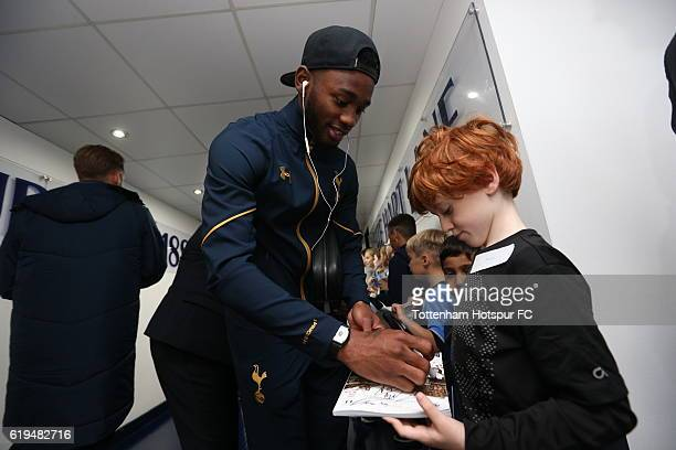 GeorgesKévin N'Koudou with mascots prior to the Premier League match between Tottenham Hotspur and Leicester City at White Hart Lane on October 29...