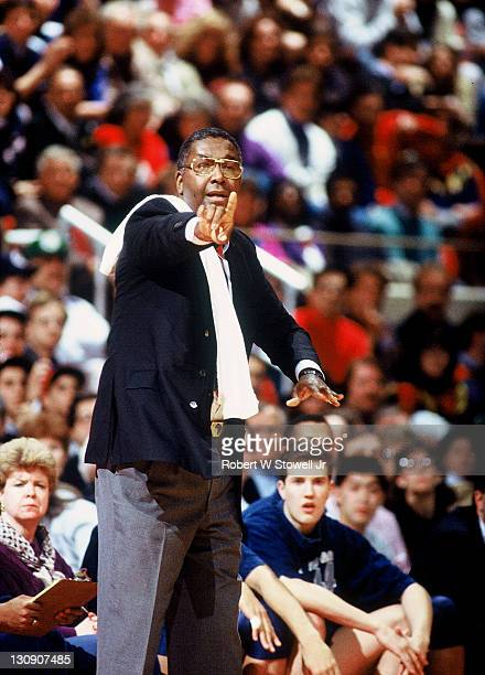 Georgetown coach John Thompson works the sidelines during a game against the University of Connecticut Hartford Connecticut 1990