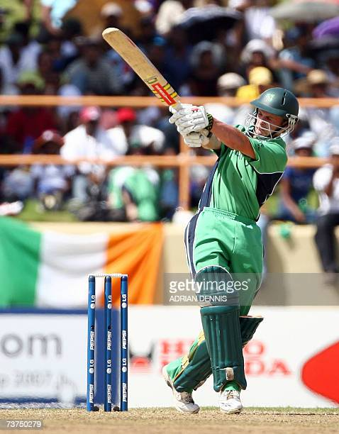 Ireland's William Porterfield plays a shot against England during the SuperEight match at Guyana National Stadium in Georgetown Guyana 30 March 2007...