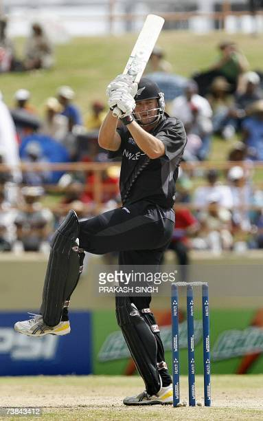 New Zealand's Peter Fulton hits a boundary against Ireland during Cricket World Cup SuperEights match at Guyana National Stadium in Georgetown 09...