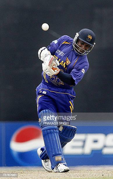 Sri Lanka's cricketer Sanath Jayasuriya hits a six against the West Indies during the World Cup Super Eight match at Guyana National Stadium in...