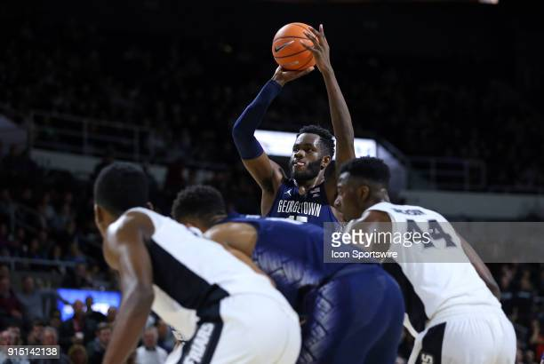 Georgetown Hoyas center Jessie Govan attempt free throws during a college basketball game between Georgetown Hoyas and Providence Friars on February...