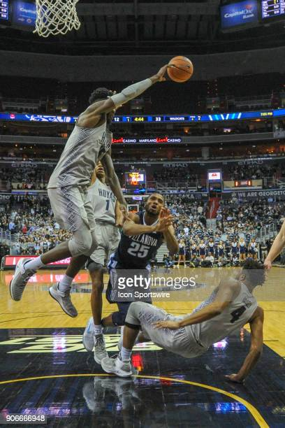 Georgetown Hoyas center Jessie Govan blocks the shot of Villanova Wildcats guard Mikal Bridges on January 17 at the Capital One Arena in Washington...