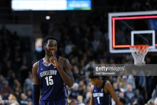 Georgetown Hoyas center Jessie Govan gestures to the crowd during a college basketball game between Georgetown Hoyas and Providence Friars on...