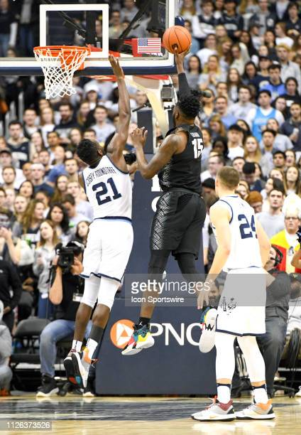 Georgetown Hoyas center Jessie Govan scores in the first half against Villanova Wildcats forward Dhamir CosbyRoundtree on February 20 at the Capital...