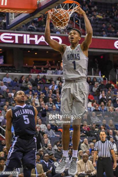 Georgetown Hoyas forward Jamorko Pickett dunks the ball in the second half against Villanova Wildcats guard Phil Booth on January 17 at the Capital...