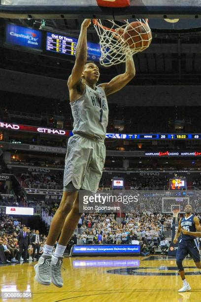 Georgetown Hoyas forward Jamorko Pickett scores on a second half dunk against the Villanova Wildcats on January 17 at the Capital One Arena in...