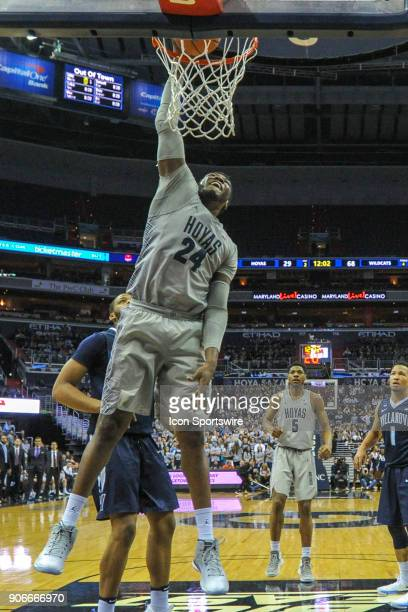 Georgetown Hoyas forward Marcus Derrickson scores in the second half on January 17 at the Capital One Arena in Washington DC The Villanova Wildcats...