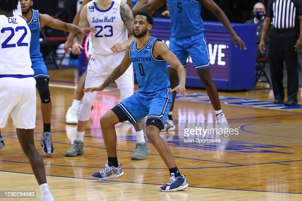 Georgetown Hoyas guard Dante Harris during the college basketball game between the Seton Hall Pirates and the Georgetown Hoyas on December 23, 2020...
