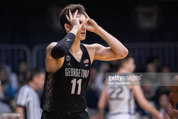 Georgetown Hoyas guard Greg Malinowski celebrates a three pointer during the men's college basketball game between the Butler Bulldogs and Georgetown...