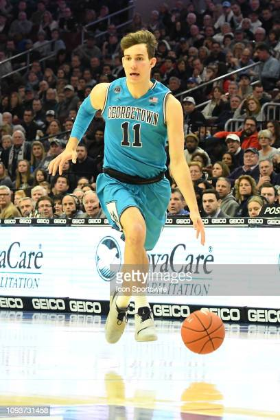 Georgetown Hoyas guard Greg Malinowski dribbles during the game between the Georgetown Hoyas and the Villanova Wildcats on February 3 2019 at Wells...