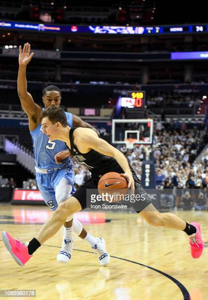 Georgetown Hoyas guard Greg Malinowski drives to the basket in the second half against Creighton Bluejays guard TyShon Alexander on January 21 at the...
