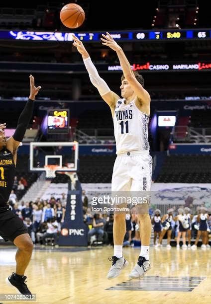 Georgetown Hoyas guard Greg Malinowski makes a three point shot late in the second half against the Appalachian State Mountaineers on December 18 at...