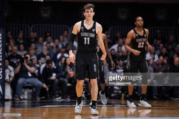 Georgetown Hoyas guard Greg Malinowski waits on the court during a timeout during the men's college basketball game between the Butler Bulldogs and...