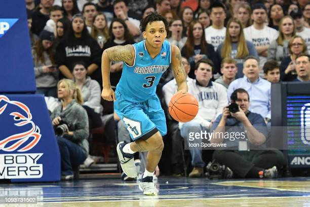 Georgetown Hoyas guard James Akinjo dribbles the ball during the game between the Georgetown Hoyas and the Villanova Wildcats on February 3 2019 at...