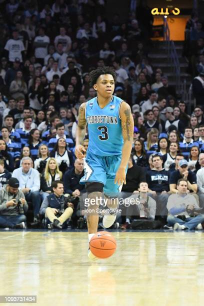 Georgetown Hoyas guard James Akinjo dribbles up court during the game between the Georgetown Hoyas and the Villanova Wildcats on February 3 2019 at...