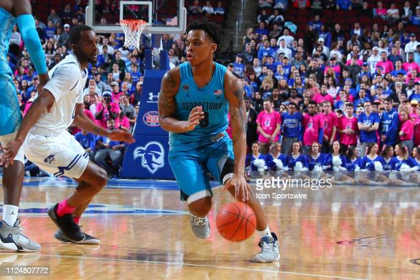 Georgetown Hoyas guard James Akinjo drives during the first half of the College Basketball Game between the Seton Hall Pirates and the Georgetown...