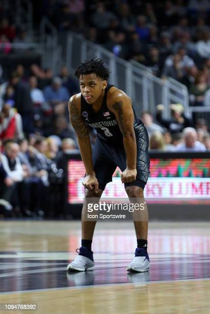 Georgetown Hoyas guard James Akinjo during a college basketball game between Georgetown Hoyas and Providence Friars on February 6 at the Dunkin...