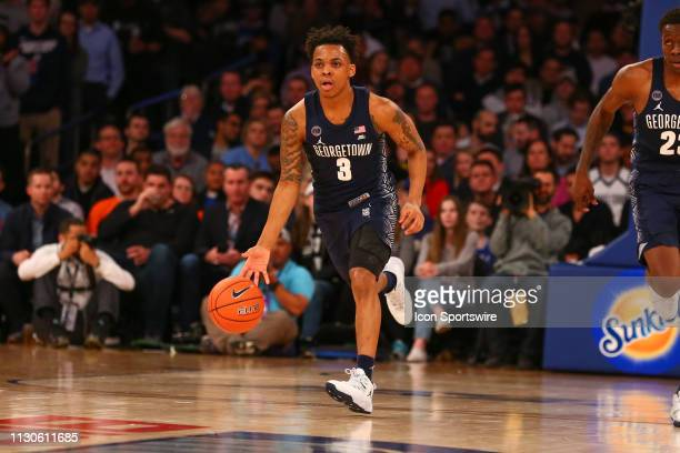 Georgetown Hoyas guard James Akinjo during the first half of the Big East Tournament quarterfinal game between the Seton Hall Pirates and the...