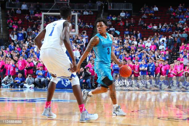 Georgetown Hoyas guard James Akinjo during the first half of the College Basketball Game between the Seton Hall Pirates and the Georgetown Hoyas on...
