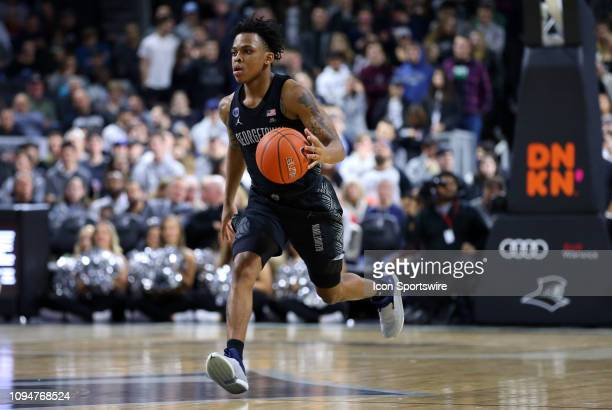 Georgetown Hoyas guard James Akinjo fastbreaks during a college basketball game between Georgetown Hoyas and Providence Friars on February 6 at the...