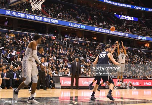 C JANUARY Georgetown Hoyas guard James Akinjo makes a three point shot very late in the second half against the Xavier Musketeers on January 31 at...